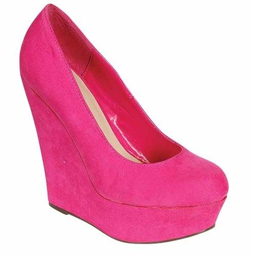 Details about Hot Pink Wedge Heels | Hot pink, The o'jays and Wedding