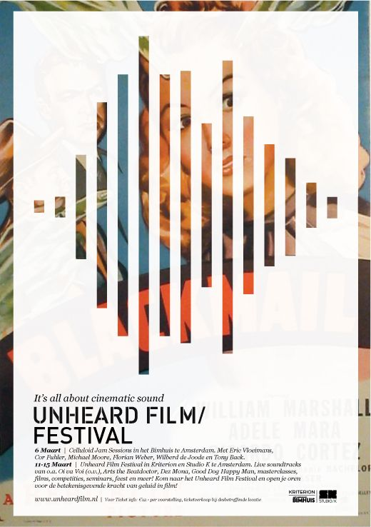 The integration of the sound element graphic, revealing the positive space of the image is really a great solve in highlighting the theme. Unheard music in film.