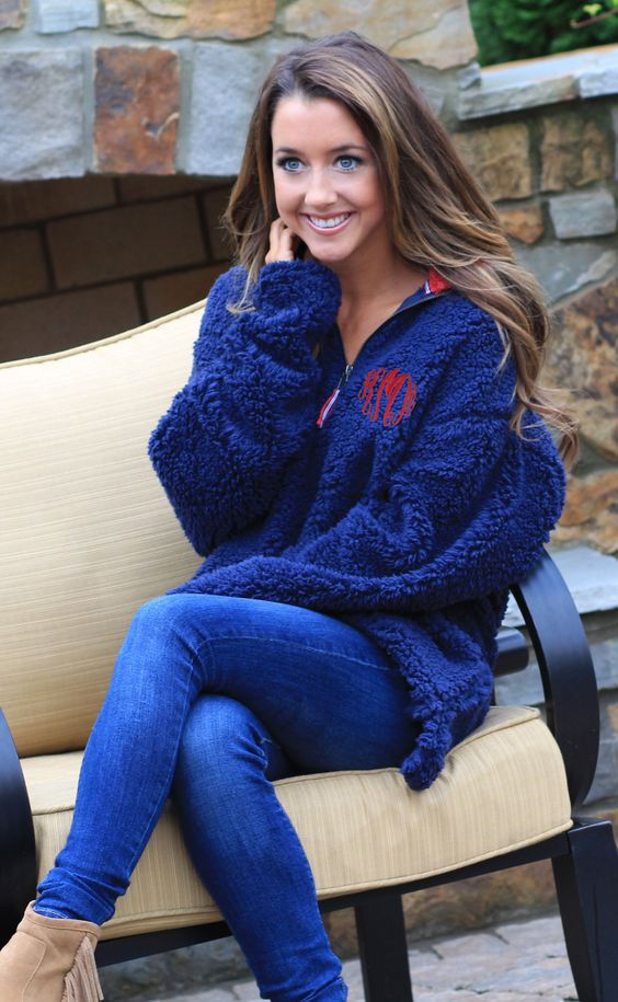 Cozy up by the fireside in this Southern Marsh Monogrammed Appalachian Pile Pullover!   Marleylilly.com