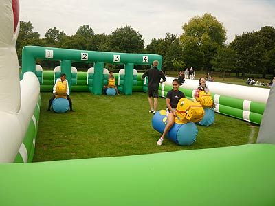 LOVING this idea of inflatable horse racing for a party. OMG this is just awesome!!!
