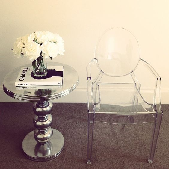 Cosmopolitan side table, silver decor, ghost chair, flowers, Chanel, coffee table inspiration, style, interior www.abodeaustralia.com