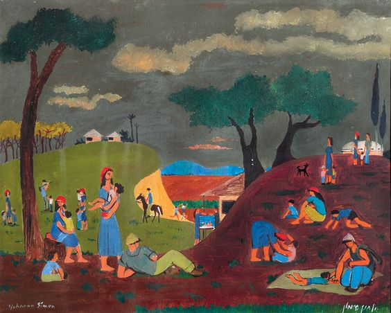 Yochanan Simon - Figures in the Kibbutz, Oil on canvas, 33X41 cm.
