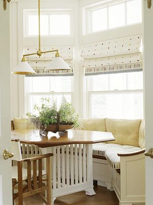 seating idea for the bay window/nook in our kitchen. LOVE the built in bench