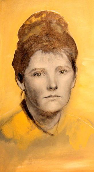 ella, 2013, painting by maivika, via www.kunstnet.de #art #painting #portrait #yellow #maivika
