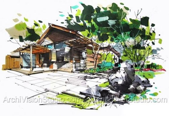 Landscape drawing landscape rendering artists that for Landscape architect drawing