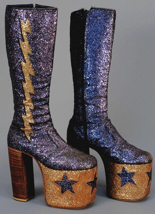 Men's Glam rock Glitter Platform Boots c. 1970 (via)