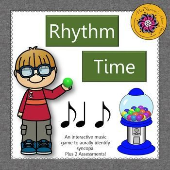 Go ahead and give your music students a gumball! They will love this interactive game while aurally identifying 2 sixteenths/1 eighth note rhythmic patterns! A great music resource for whole group instruction or centers! Plus, there are 2 formal (one measure or two measures) assessments included.