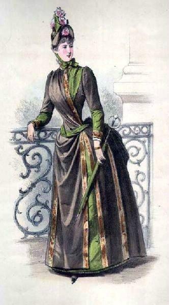 La Mode: circa 1886? Interesting color choices, matching parasol