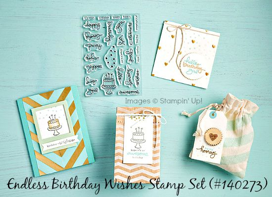 Cute projects created by Stampin' Up! artists using Endless Birthday Wishes stamp set.