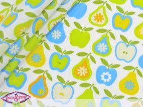 Stoff Retro Äpfel & Birnen - hellgrün