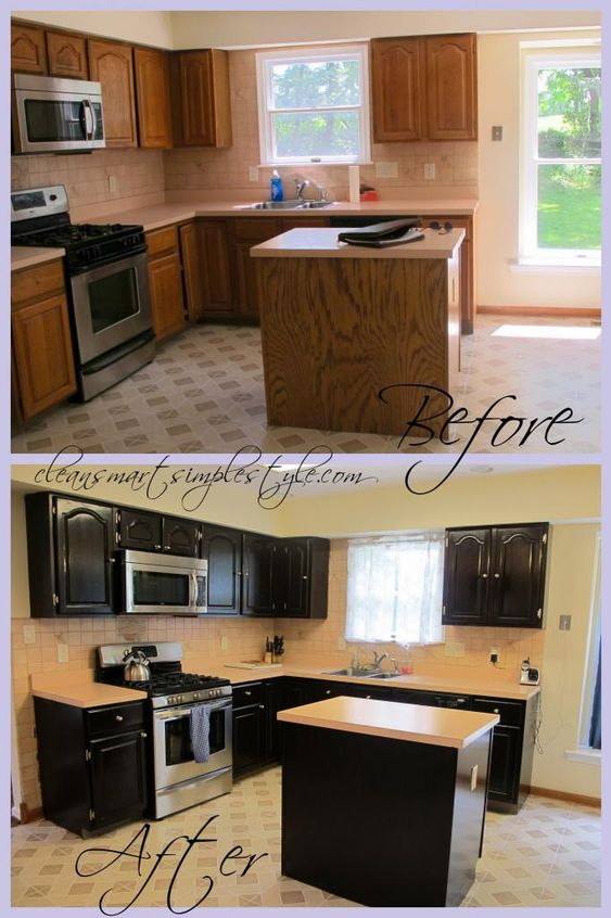 Gel stain kitchen cabinet before after black cabinets for Black stained cabinets