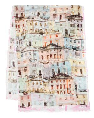 Regency houses print scarf