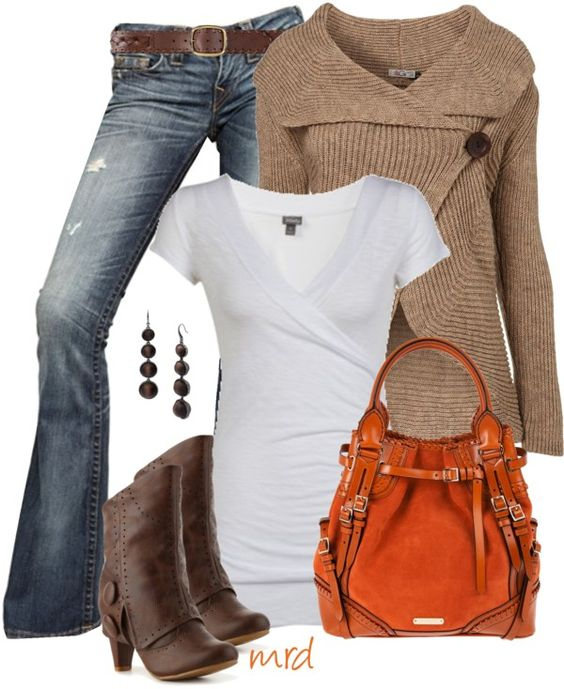 Jeans, wrap neck sweater and orange bag! Cute
