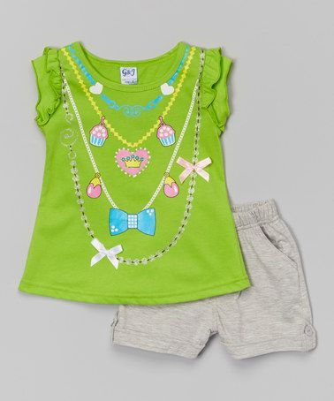 Another great find on #zulily! Lime Necklaces Top & Gray Shorts - Toddler & Girls #zulilyfinds