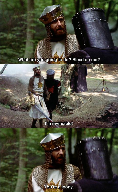 "Monty Python and The Holy Grail : ""what are you going to do? Bleed on me.?"":"