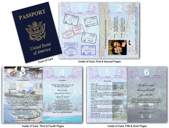 Got these AWESOME invitations as our destination wedding invitations.  Contact Diane at www.custompassports.com
