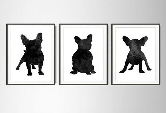 French Bulldog Set of 3 Poster,French Bulldog poster ,French Bulldog watercolor set ,French Bulldog painting,Bulldog art,Bulldog black