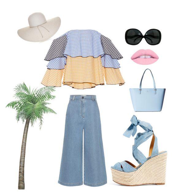 """Summer"" by kotnourka ❤ liked on Polyvore featuring Caroline Constas, Fendi, Ralph Lauren, Kate Spade and Nine West"