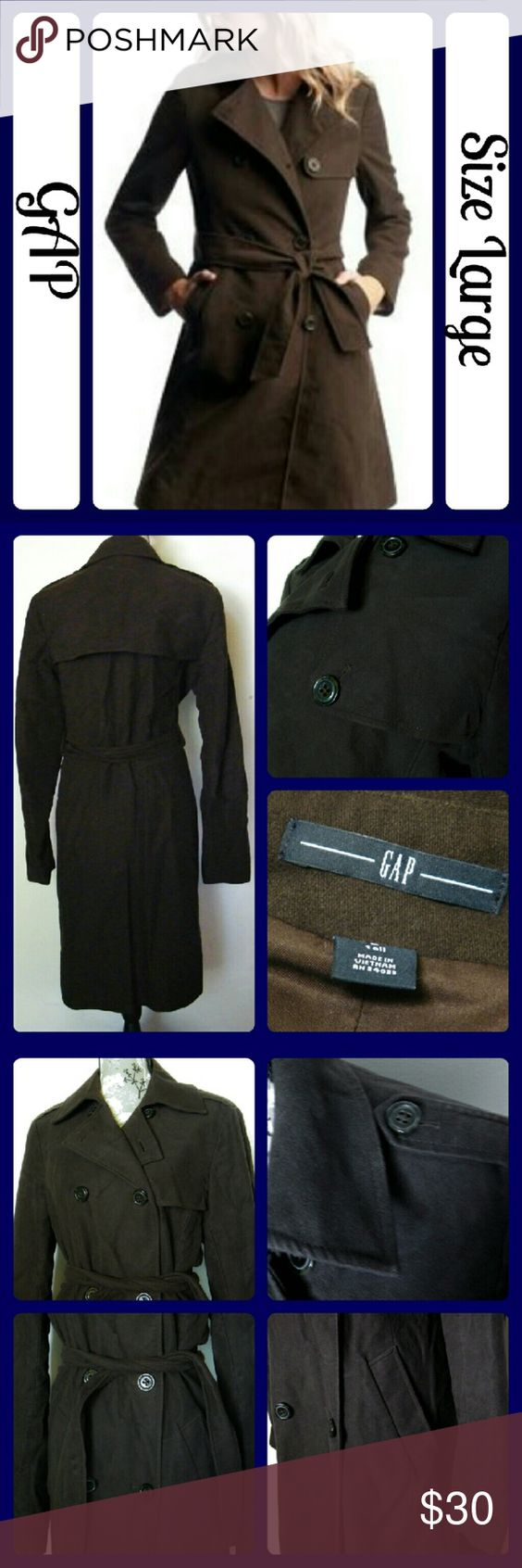 """GAP Long Moleskin Trench Jacket - Brown Chocolate brown. Long moleskin trench jacket. It is very warm and not thin like regular trenches. Worn once. Straight silhouette with a tailored fit. Hits at mid thigh. Fabric content: Shell- 100% Cotton and  Lining 100% Polyester. Measurements: Bust (underarm to underarm)  22"""", Length 41"""" From /a smoke-free Home GAP Jackets & Coats Trench Coats"""