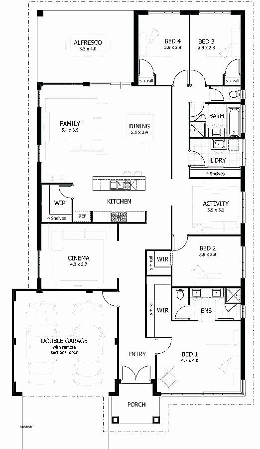4 Bdrm House Plans Awesome Rectangular House Plans Modern Modern 4 Bedroom House Floor Modern House Floor Plans House Floor Plans Ranch House Plans