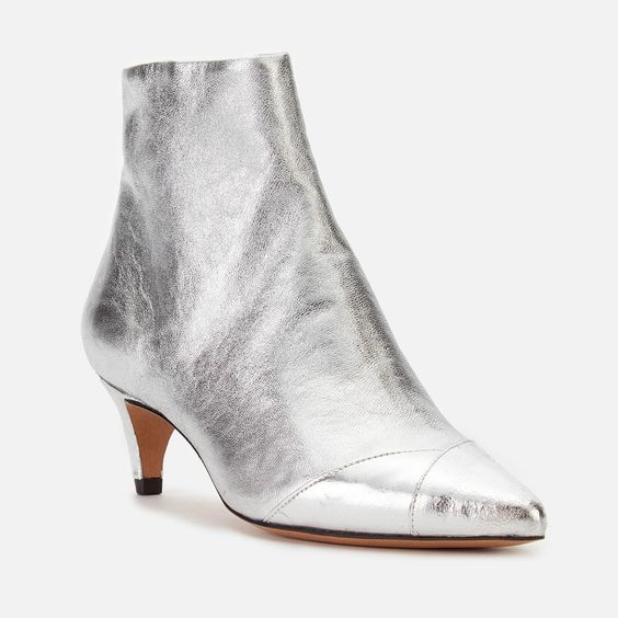 Isabel Marant Women's Durfee Metallic Low Heel Ankle Boots - Silver - Free UK Delivery Available