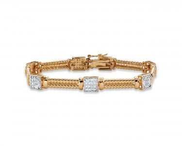 "TumbleDeal.com - 18k Gold-Plated 8"" Pave Cubic Zirconia Elephant-Link Charm Bracelet"