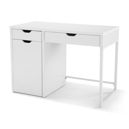 Mainstays Perkins Desk Multiple Colors Walmart Com White Desk Bedroom Small Office Desk Desk With Drawers