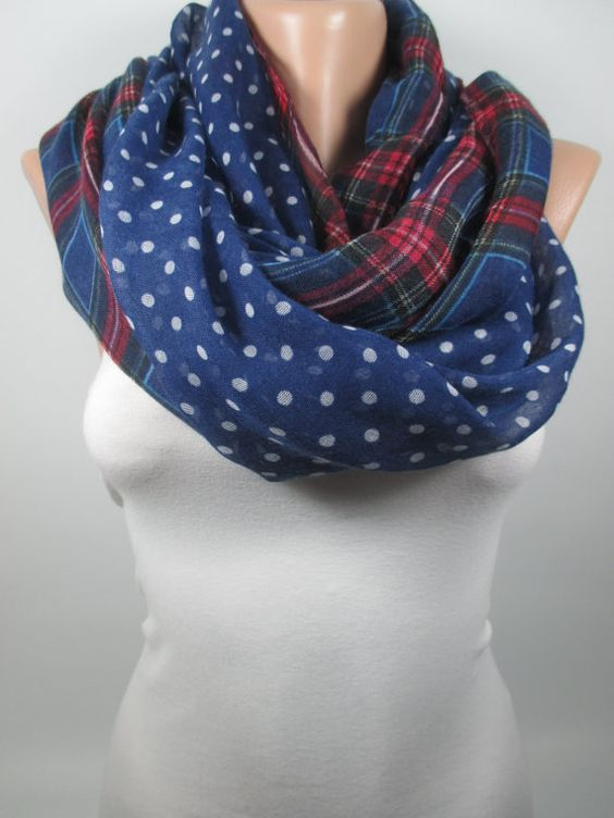 Navy Blue Red Plaid Scarf Polka Dots Scarf Infinity by MelScarf