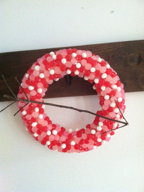 Gumdrop wreath by HadandHarps on Etsy, $25.00