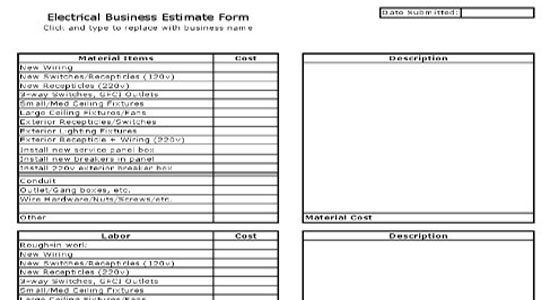 Free Electrical Estimating Spreadsheet Electrical Estimate Form Proposal Templates Electrical Estimating Job Quotes