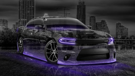 Dodge Charger RT Muscle Crystal City Car 2015 Violet Neon 3D HD Wallpapers Design By Tony Kokhan Www.el Tony.com  | El Tony Cars | Pinterest | Dodge Charger ...