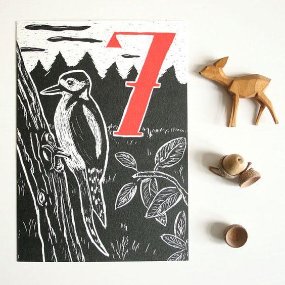 Postkarte Specht, Geburtstagskarte für Kinder, Waldtier Illustration, schwarz…