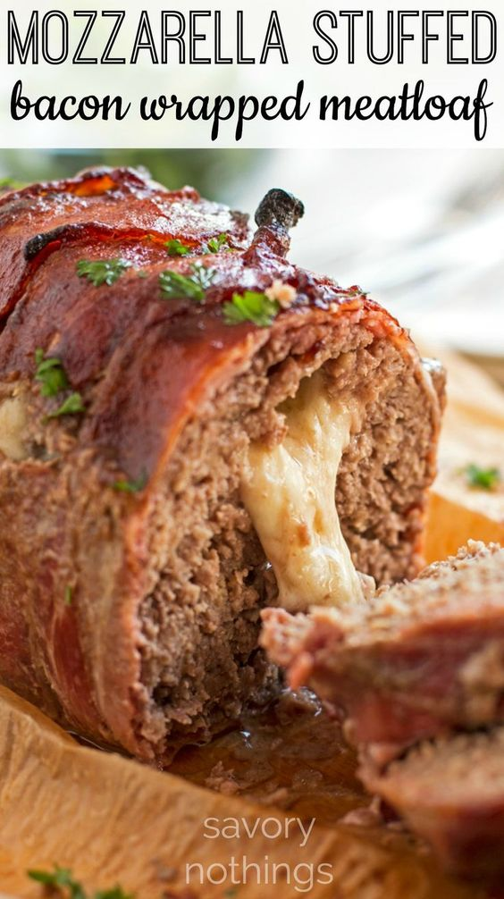 This is the absolutely best meatloaf recipe with lots of positive reviews - stuffed with cheese and wrapped in bacon! Comes together in a few quick and easy steps for a tasty family dinner!