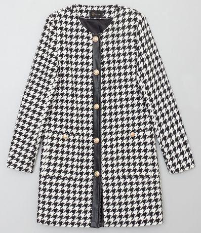 Casaco fazenda tecido xadrez aperta com 1 botão bolsos com