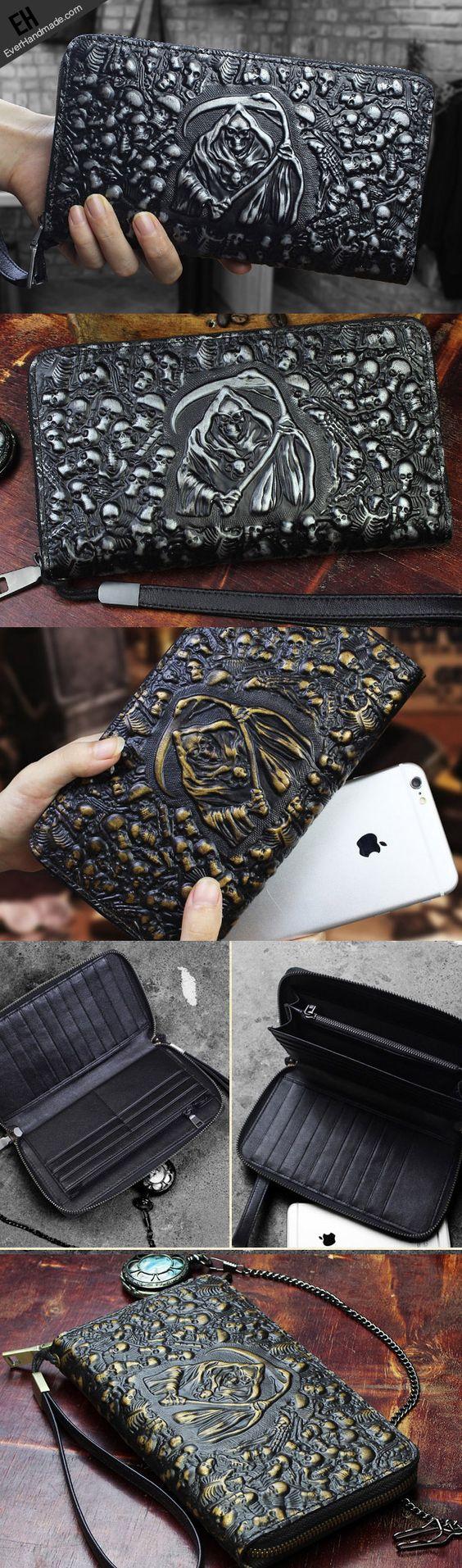 Handmade zip long wallet leather men skull death clutch phone wallet for men