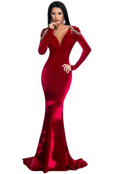 Robes de Soiree Manches Longues Rouge Velours Dos Nu Robe MB61271-3 #Modebuycom #Achats #Acheter #basprix #discount #femme #femmes #france #Grande #gros #lingerie #nouveaucollection #pascher #paschere #prixdegros #qualité #robes #sexy #soldes #vente #vetements #vêtements