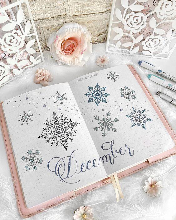 30 idées pour votre page de décembre dans votre Bullet Journal - @bella_rica_design on instagram