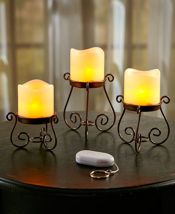 Indoor Outdoor Remote Control Tabletop LED Lights Set of 3 #Unbranded