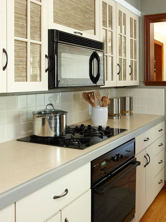 Cabinets galley kitchens and black appliances on pinterest - Wallpaper on kitchen cabinet doors ...