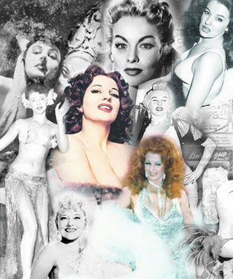 Burlesque queens of yore, clockwise from top left: Marna Broadhurst, Lili St. Cyr, Blaze Starr, Dixie Evans, St. Cyr, Tempest Storm, Lily Rose and Sally Rand. Center: Storm.