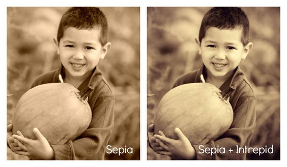 two images showing Sepia and Sepia + Intrepid effects, respectively