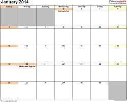 2014 Calendar Templates | January 2014 calendar printable template