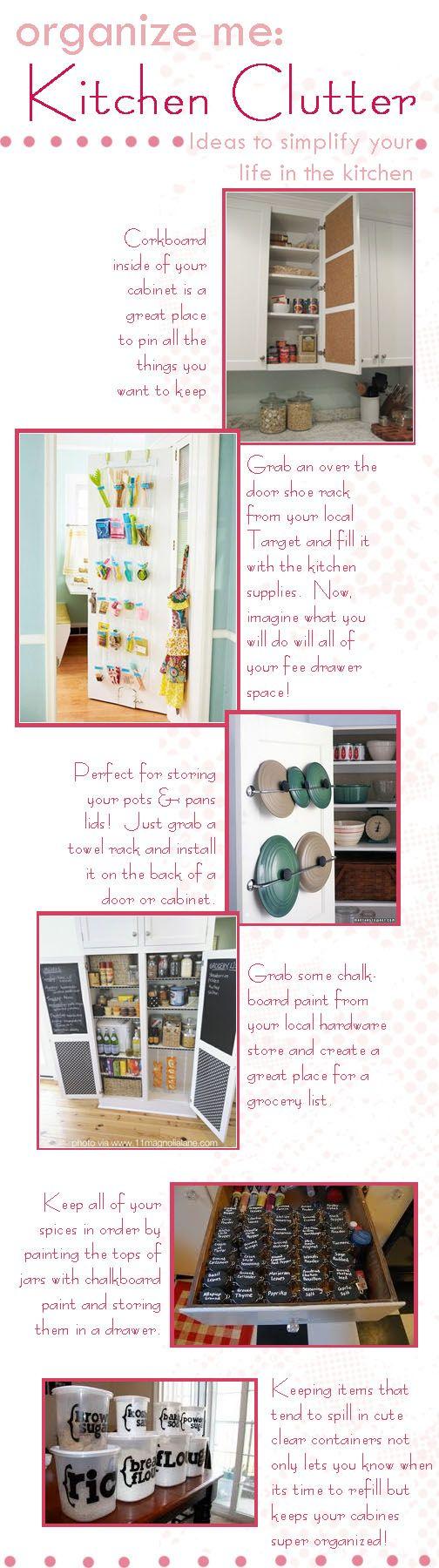 organize kitchen clutter! great tips
