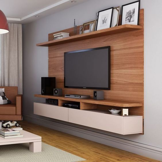 Suspended Tv Console With High Shelf For Photo Frames Living Room Cabinets Living Room Tv Tv Console Design