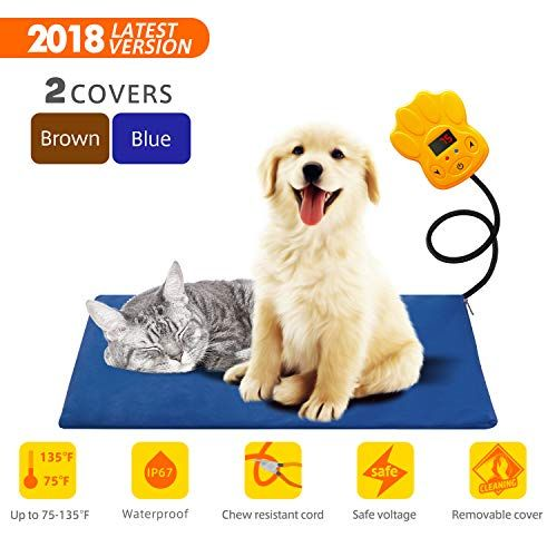 Pet Heating Pad 15w Outdoor Indoor Electric Warmer For Dogs Cats Animals Whelping Box Heated Bed Warming Mat With Chew Resistant Cord Replaceable Cov Pet Heating Pad Dog