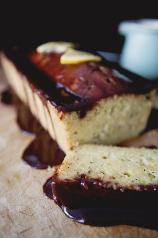 Orange Poppyseed Pound Cake with Dark Chocolate Glaze