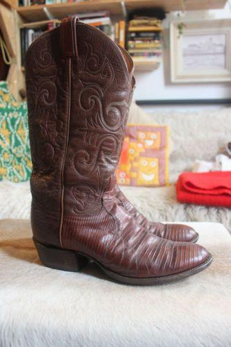 Vintage-Tony-Lama-cowboy-boots-lizard-size-5-5