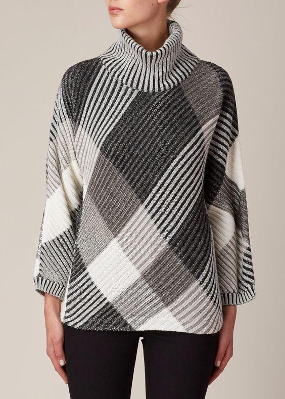 Issey Miyake Slant Knit Sweater (Black Hue)