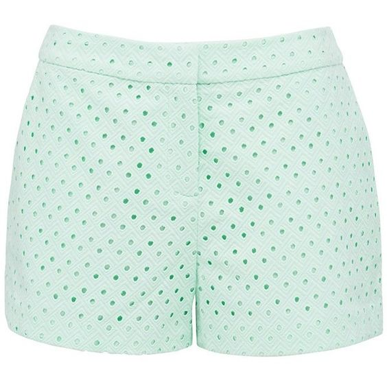 Forever New Annika Broderie Shorts (19 CAD) ❤ liked on Polyvore featuring shorts, bottoms, short, powder mint, mint green shorts, mini shorts, short shorts, forever new и mint shorts
