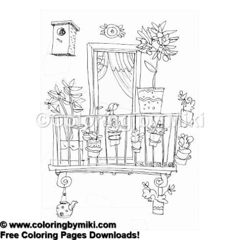 Balcony And Window Sketch Coloring Page 1108 Sketches Window